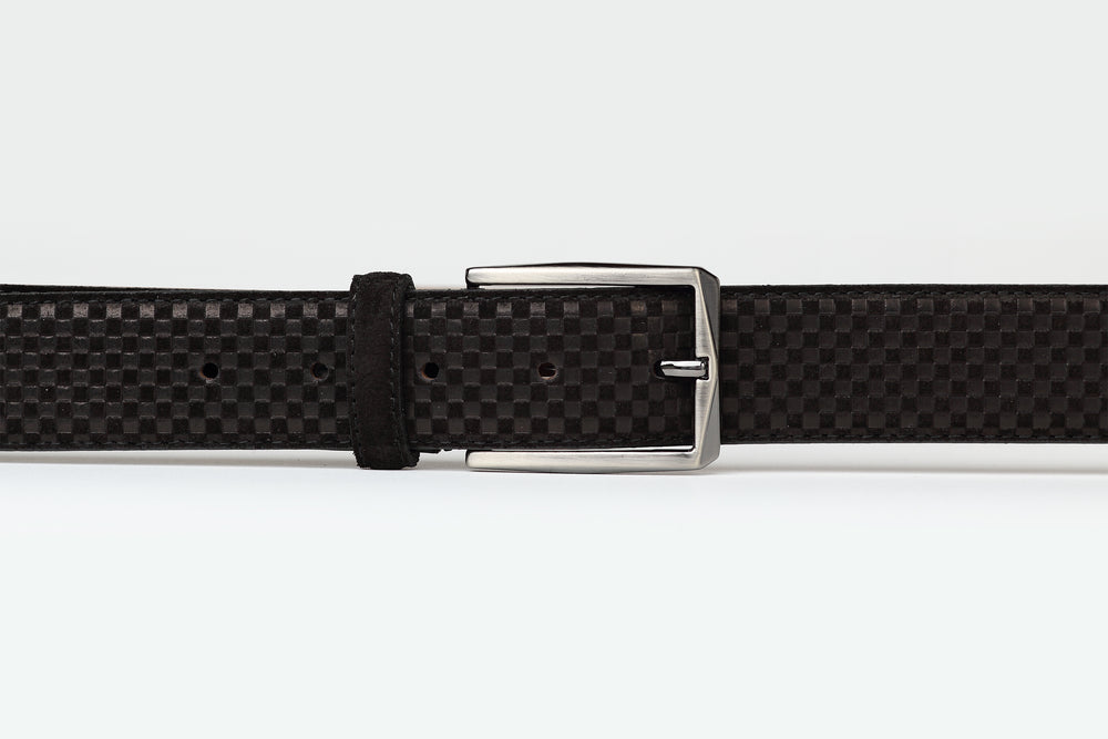Black - Embossed Suede Leather Belt