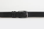 Black - Gridded Design Leather Belt