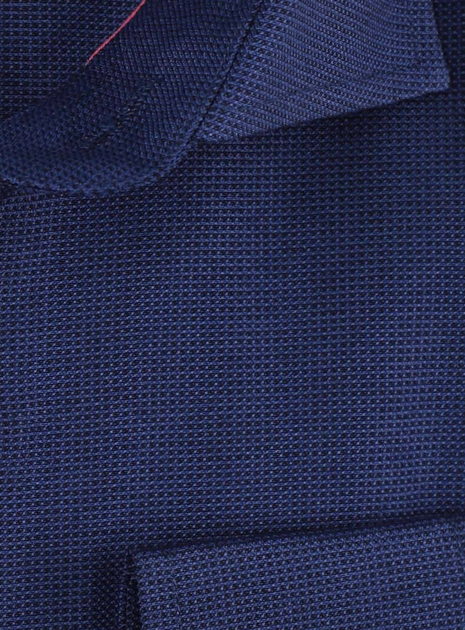 Navy - Textured Weave  L/S Business Shirt