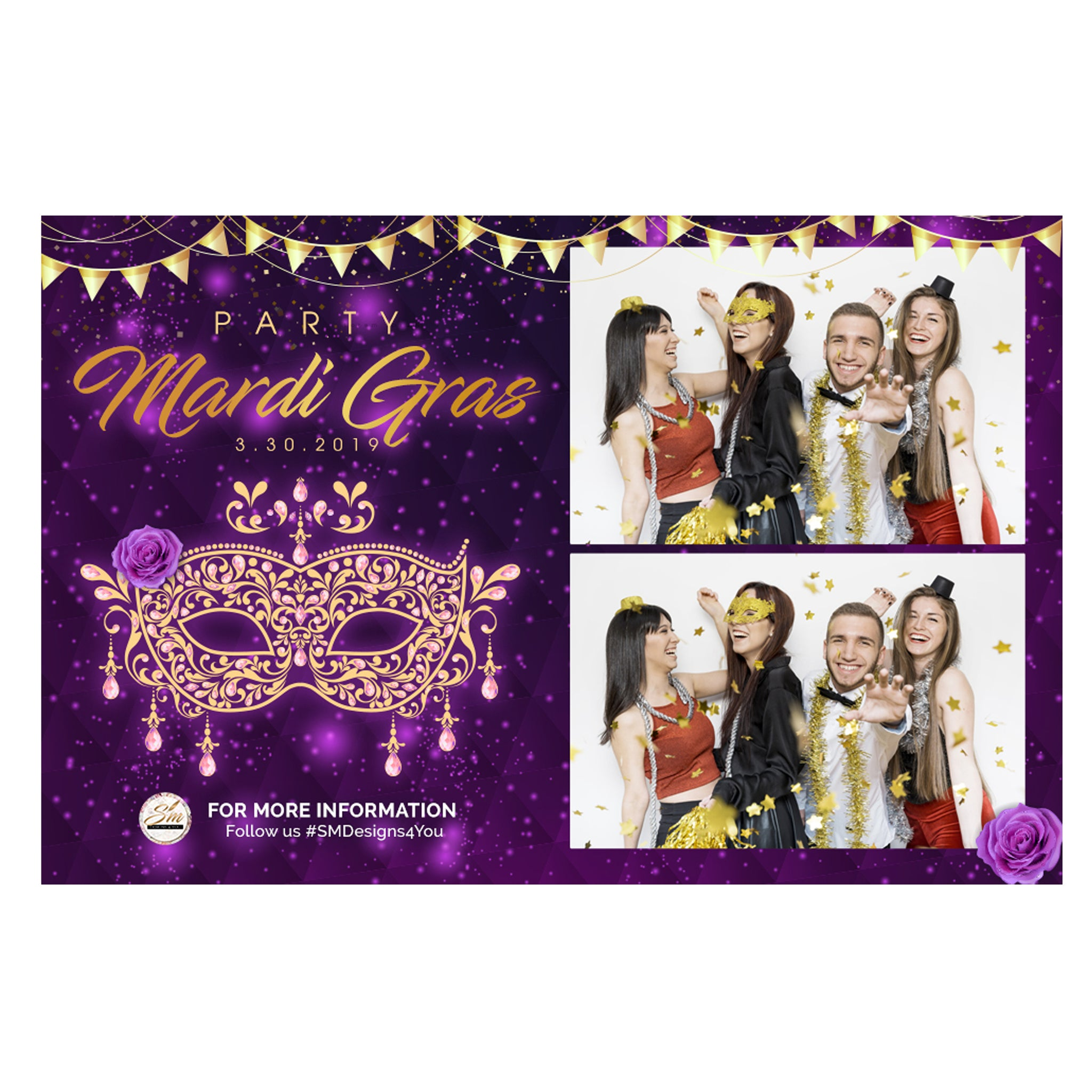 Mardi Gras Gold Photo Booth Template (Digital
