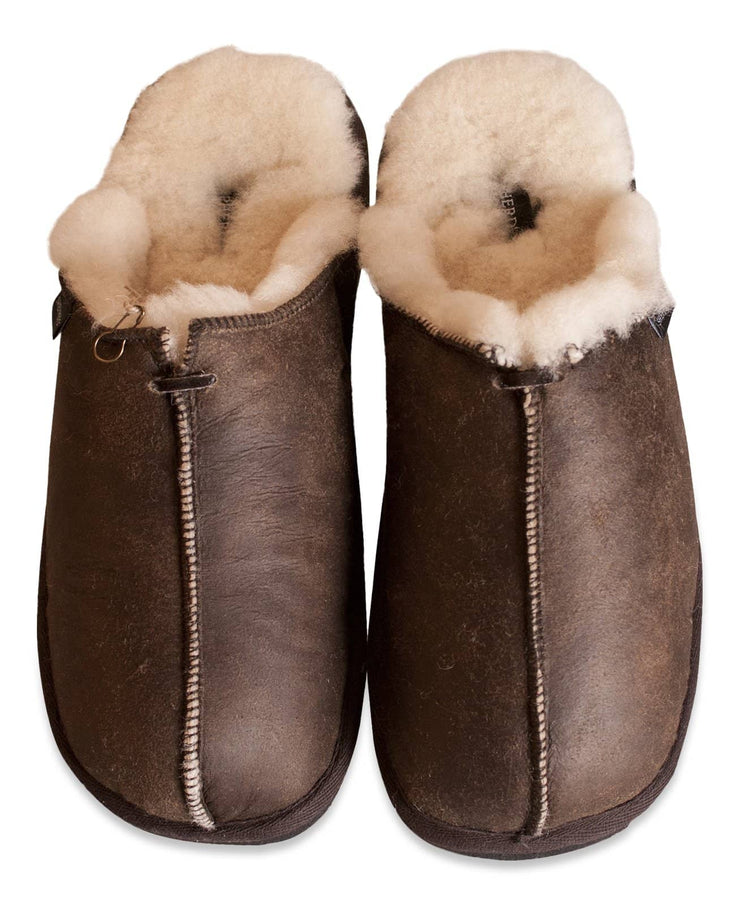 Mens Sheepskin Slippers - Open Back Mule Style