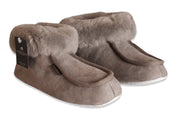 Womens Sheepskin Slippers - Classic Boot Style With Sheepskin Cuff - Leather Sole