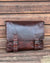 Ashwood leather laptop satchel messenger bag tan front against wooden background