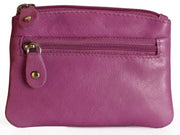 Womens Brunhide leather coin purse with keyring 211-300 berry front