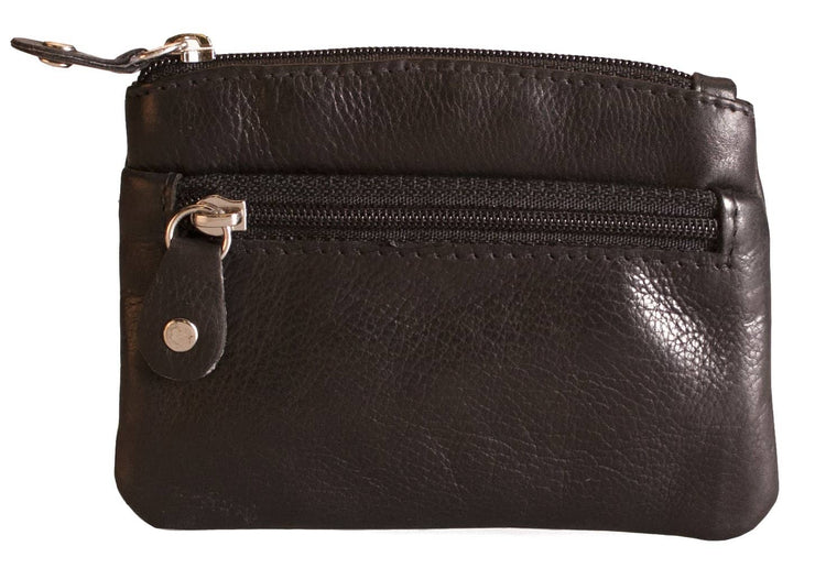 Womens Brunhide leather coin purse with keyring 211-300 black front