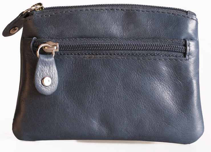 Womens Brunhide leather coin purse with keyring 211-300 navy front