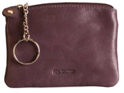 Womens Brunhide leather coin purse with keyring 211-300 plum back