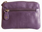 Womens Brunhide leather coin purse with keyring 211-300 purple front