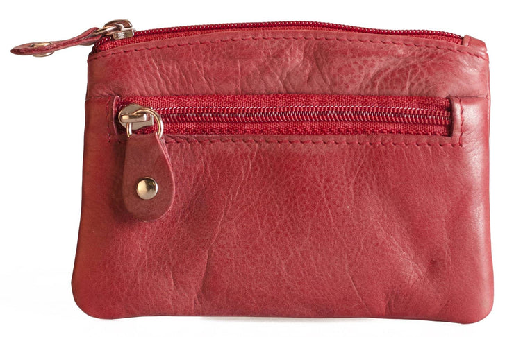 Womens Brunhide leather coin purse with keyring 211-300 red front