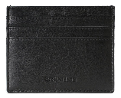 Mens Brunhide leather card holder wallet with plastic ID 254-300 Black front