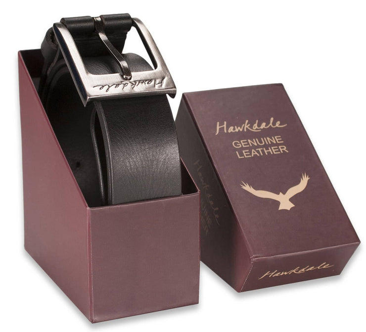 Hawkdale mens leather belt 811-400 black boxed shot