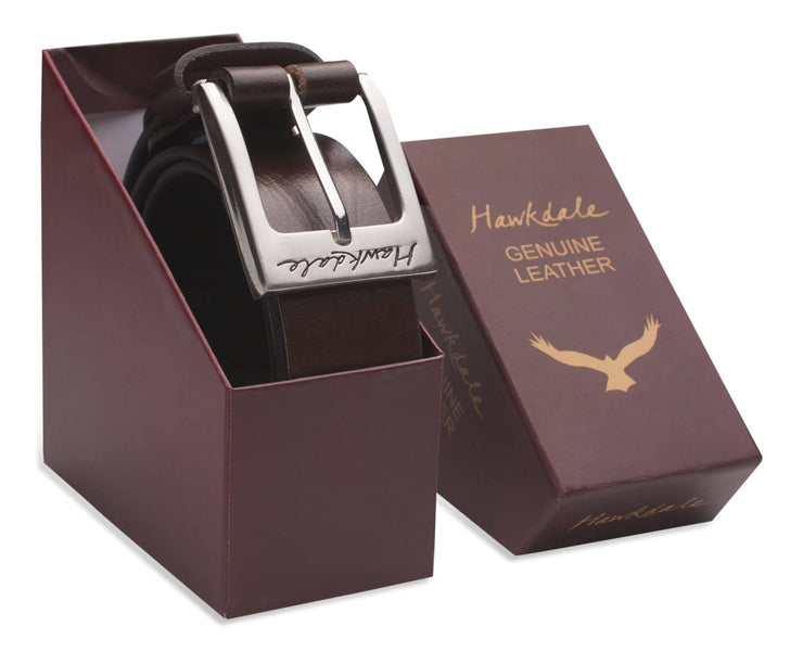 Hawkdale mens leather belt 811-400 chocolate boxed shot