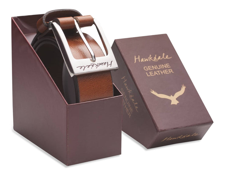 Hawkdale mens leather belt 811-400 tan boxed shot
