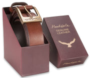 Hawkdale mens leather belt 818-400 brown boxed shot