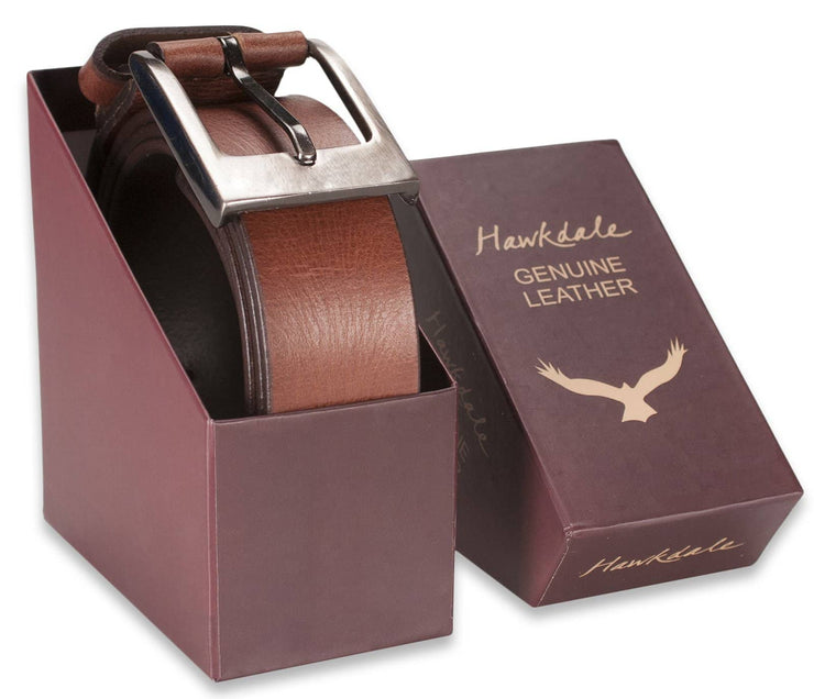 Hawkdale mens leather belt 8R-F01-400 brown boxed shot