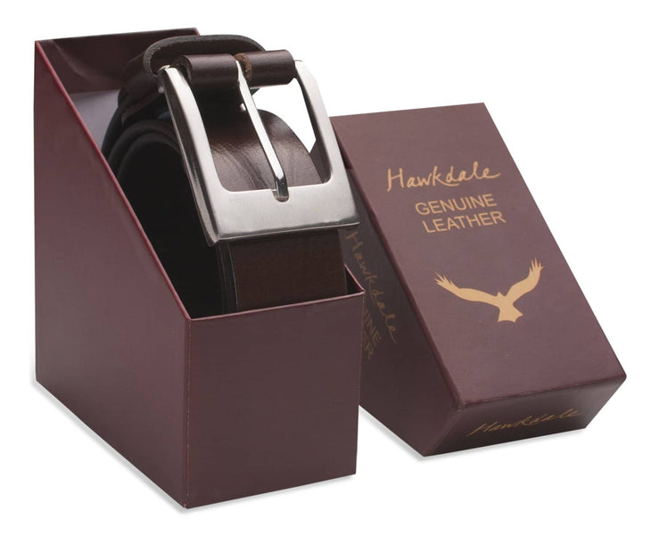 Hawkdale mens leather belt 8R-F01-400 chocolate boxed shot