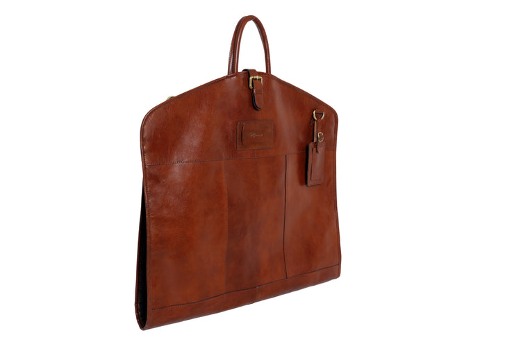 Ashwood leather Suit Carrier white background brown closed