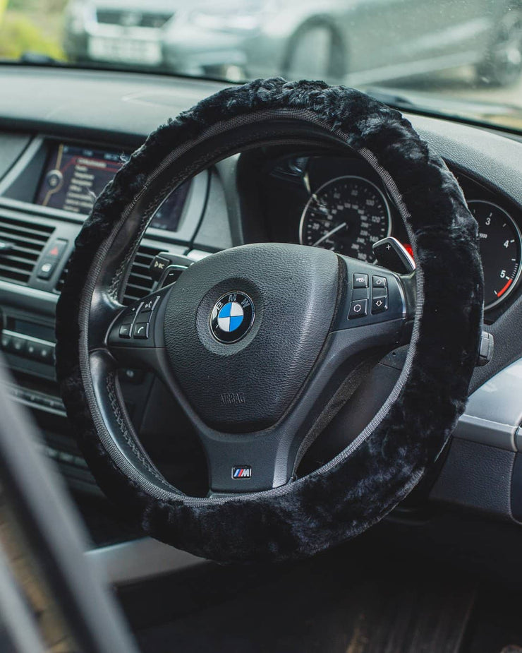 Nordvek steering wheel cover in car black 108-100