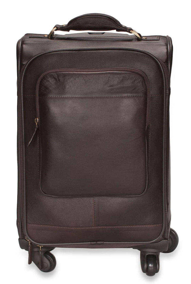 Premium Leather Suitcase - Suitable For Hand Baggage - 4 Wheel Direction
