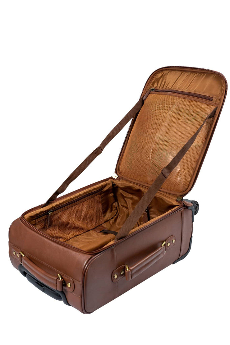 Nordvek trolley suitcase with open to see inside tan 101-100
