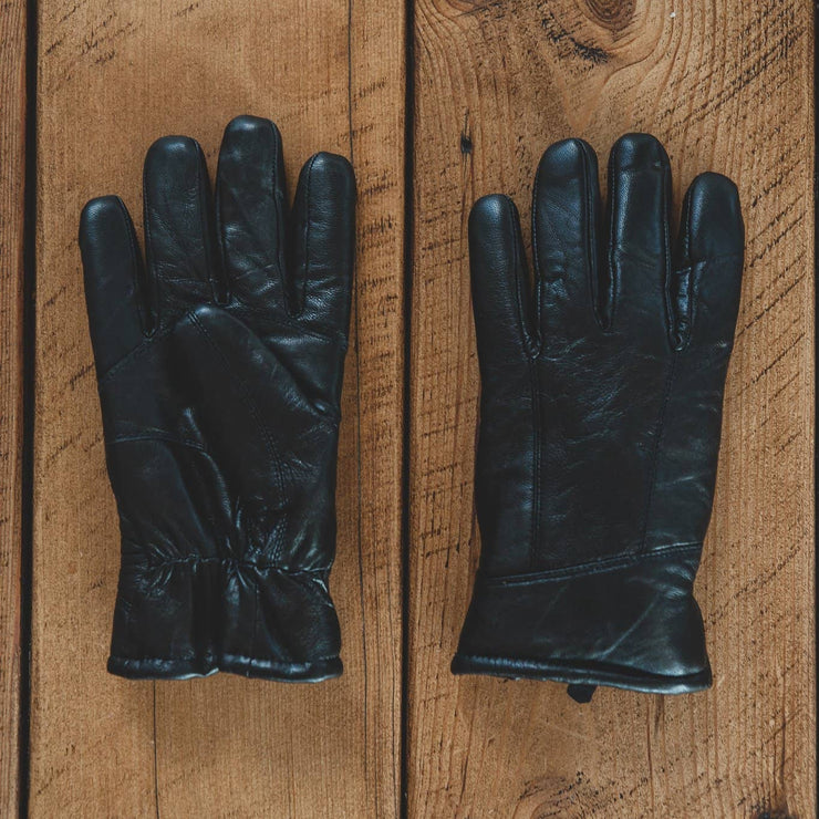 Mens Leather Gloves - Sheepskin Lined Cuff