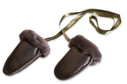 Nordvek sheepskin kids puddy mittens black leather with ribbon 303-100