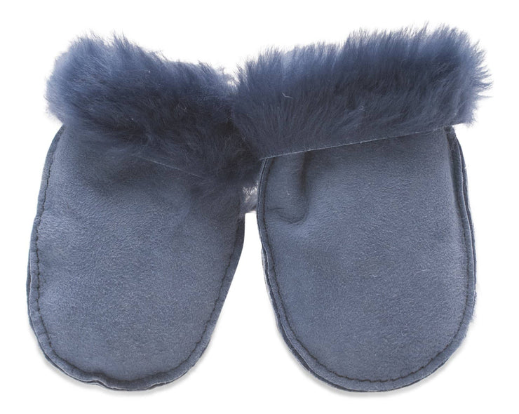 Nordvek sheepskin kids puddy mittens blue without ribbon 303-100