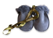 Nordvek sheepskin kids puddy mittens blue with green ribbon 303-100