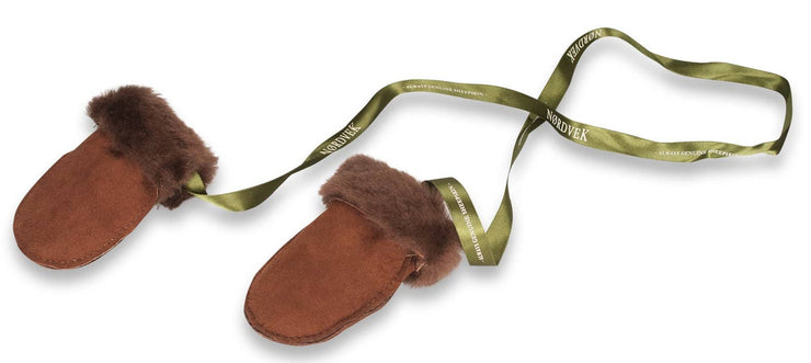 Nordvek sheepskin kids puddy mittens choc with ribbon 303-100