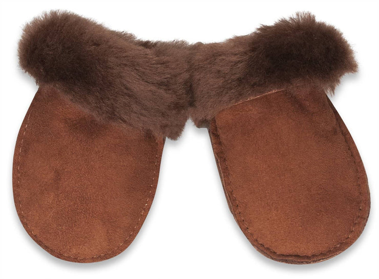 Nordvek sheepskin kids puddy mittens brown without ribbon 303-100