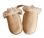 Nordvek sheepskin kids puddy mittens ivory with cream ribbon 303-100