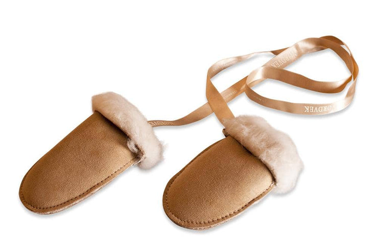 Nordvek sheepskin kids puddy mittens natural with cream ribbon 303-100