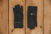 Nordvek Mens 307-100 sheepskin black gloves on wooden background