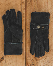 Nordvek Mens 307-100 sheepskin black gloves on wooden table