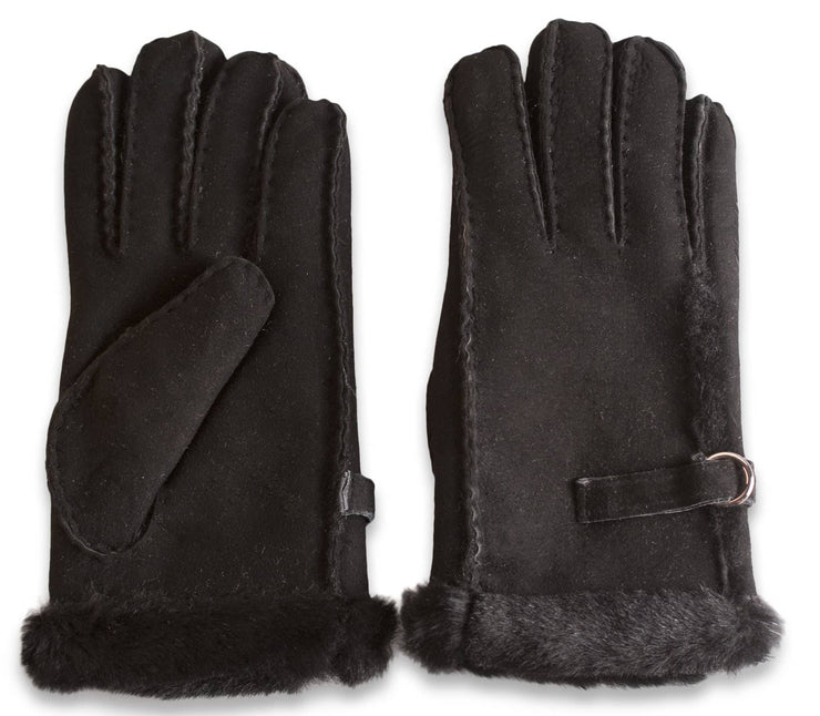 Nordvek womens sheepskin gloves 310-100 black side by side