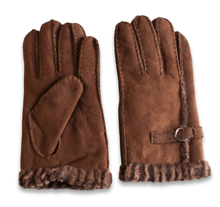 Nordvek womens sheepskin gloves 310-100 brown side by side