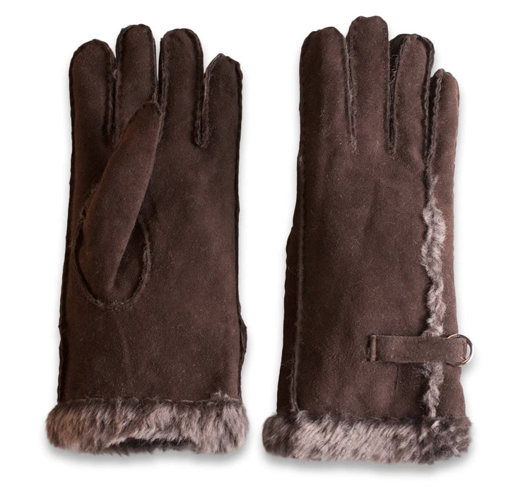 Nordvek womens sheepskin gloves 310-100 chocolate side by side