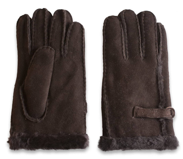 Nordvek womens sheepskin gloves 310-100 dark chocolate side by side