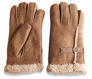 Womens Sheepskin Gloves - Sheepskin & Buckle Detailing