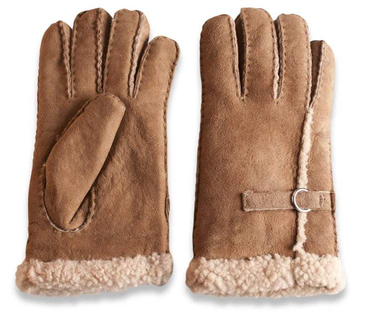 Nordvek womens sheepskin gloves 310-100 tan side by side