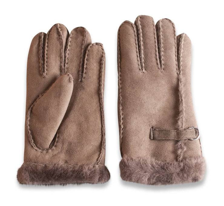 Nordvek womens sheepskin gloves 310-100 taupe side by side