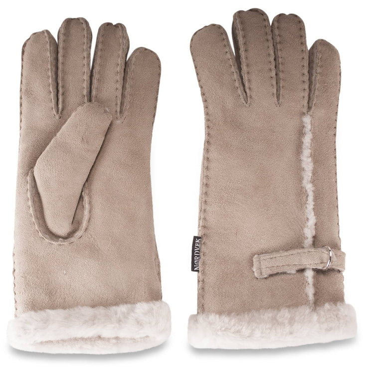 Nordvek womens sheepskin gloves 310-100 venetian grey side by side