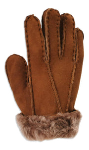 Nordvek childrens sheepskin gloves 313-100 brown back of hand