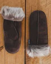 Nordvek womens sheepskin mittens 316-100 chocolate pair on wooden floor