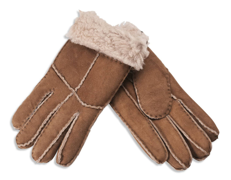 Nordvek womens sheepskin gloves brown pair 321-100