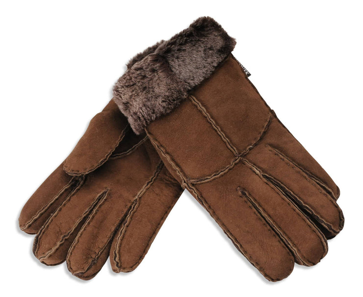 Nordvek womens sheepskin gloves chocolate pair 321-100