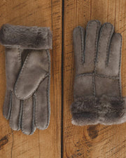 Nordvek womens sheepskin gloves 321-100 stone side by side on wooden floor