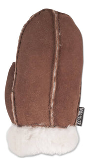 Nordvek childrens sheepskin mittens 325-100 brown back of hand