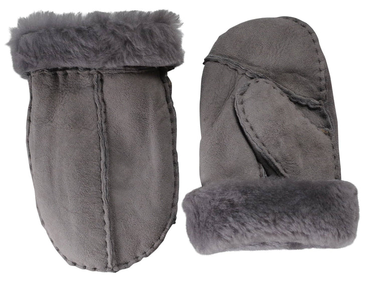 Nordvek childrens sheepskin mittens 325-100 venetian grey back of hand