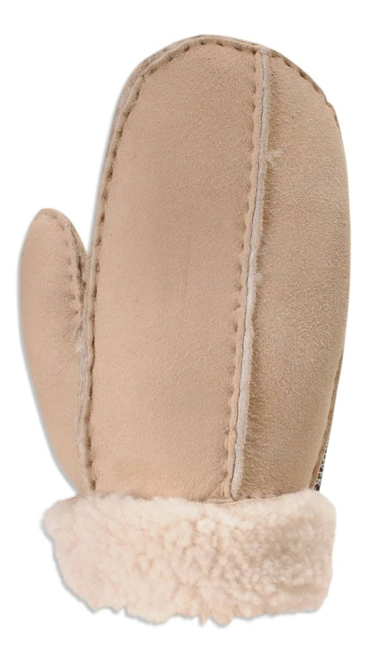 Nordvek childrens sheepskin mittens 325-100 beige back of hand